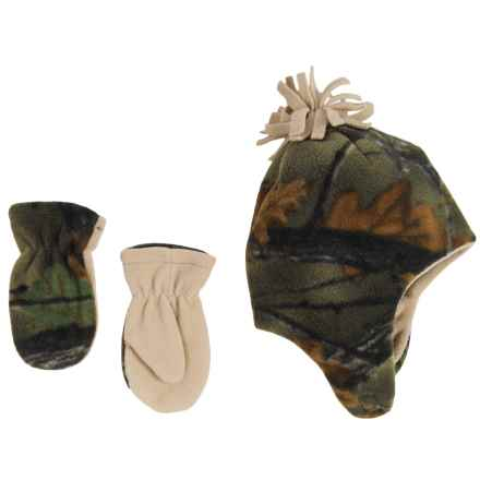 Grand Sierra Microfleece Hat and Mittens Set - Fully Lined (For Toddlers) in Camo W/Khaki - Closeouts
