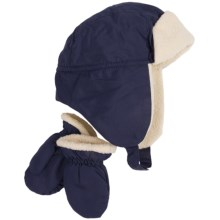Grand Sierra Nylon Sherpa Hat and Mitten Set (For Toddler Boys) in Navy - Closeouts