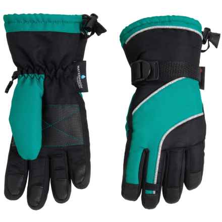 Grand Sierra Oxford Thinsulate® Snowboard Gloves - Waterproof, Insulated (For Big Girls) in Black W/Turquoise - Closeouts
