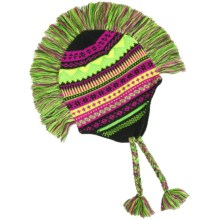 Grand Sierra Peruvian Mohawk Winter Hat (For Girls) in Black/Pink/Yellow - Closeouts