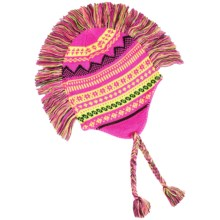 Grand Sierra Peruvian Mohawk Winter Hat (For Girls) in Pink/Yellow/Black - Closeouts