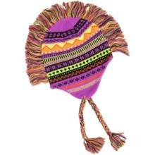 Grand Sierra Peruvian Mohawk Winter Hat (For Girls) in Purple/Black/Yellow - Closeouts