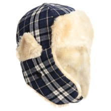 Grand Sierra Plaid Trapper Hat - Wool Blend, Faux-Fur Lining, Ear Flaps (For Kids) in Blue - Closeouts
