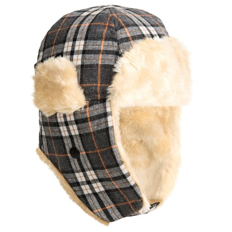 Grand Sierra Plaid Trapper Hat - Wool Blend, Faux-Fur Lining, Ear Flaps (For Kids) in Grey