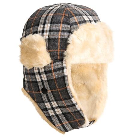 Grand Sierra Plaid Trapper Hat - Wool Blend, Faux-Fur Lining, Ear Flaps (For Kids) in Grey