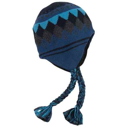 Grand Sierra Ragg Wool Beanie - Ear Flaps, Fleece Lined (For Men and Women) in Blue - Closeouts