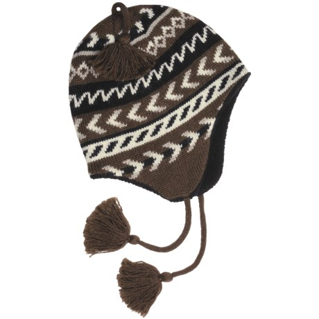 Grand Sierra Ragg Wool Beanie Hat - Ear Flaps, Fleece Lining (For Men) in Brown/Natural W/Tassel