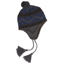 Grand Sierra Ragg Wool Beanie Hat - Ear Flaps, Fleece Lining (For Men) in Blue Grey/Navy W/Tassel
