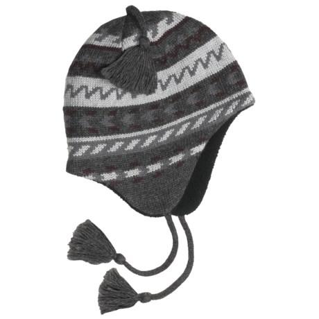 Grand Sierra Ragg Wool Beanie Hat - Ear Flaps, Fleece Lining (For Men) in Charcoal/Grey W/Tassel