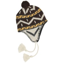 Grand Sierra Ragg Wool Beanie Hat - Ear Flaps, Fleece Lining (For Men) in Natural/Brown W/Pom - Closeouts