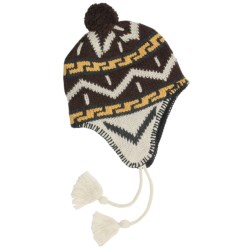 Grand Sierra Ragg Wool Beanie Hat - Ear Flaps, Fleece Lining (For Men) in Natural/Brown W/Pom