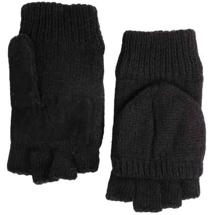 Grand Sierra Ragg Wool Mittens - Convertible Fingerless Gloves, Thinsulate®, Suede Palm (For Men) in Black - Closeouts