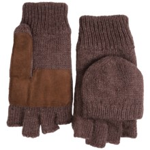 Grand Sierra Ragg Wool Mittens - Convertible Fingerless Gloves, Thinsulate®, Suede Palm (For Men) in Brown - Closeouts