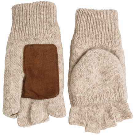 Grand Sierra Ragg Wool Mittens - Convertible Fingerless Gloves, Thinsulate®, Suede Palm (For Men) in Tan - Closeouts