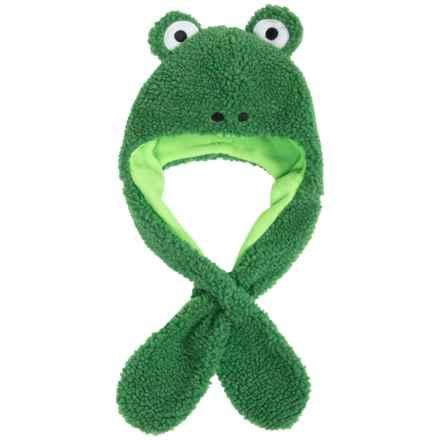 Grand Sierra Sherpa Fleece Animal Hat - Ear Flaps, Fleece Lined (For Toddlers) in Green Frog - Closeouts