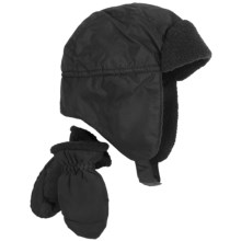 Grand Sierra Sherpa Hat and Mitten Set (For Toddler Boys) in Black - Closeouts