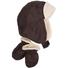 Grand Sierra Sherpa Hat and Mitten Set (For Toddler Boys) in Brown - Closeouts