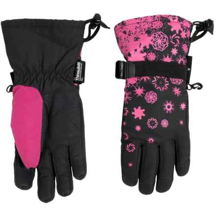 Grand Sierra Snowflake Printed Thinsulate® Snowboard Gloves - Waterproof, Insulated (For Little Girls) in Black - Closeouts