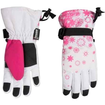 Grand Sierra Snowflake Printed Thinsulate® Snowboard Gloves - Waterproof, Insulated (For Little Girls) in White - Closeouts