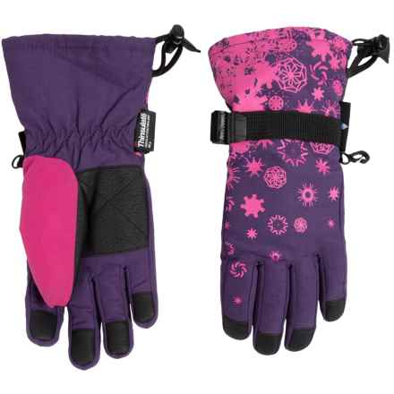 Grand Sierra Snowflake Thinsulate® Snowboard Gloves - Waterproof, Insulated (For Big Girls) in Purple - Closeouts