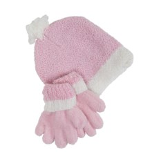 Grand Sierra Sparkle Chenille Hat and Gloves Set (For Little Girls) in Pink - Closeouts