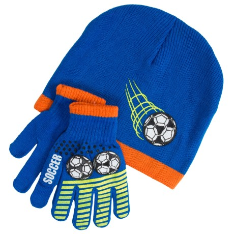 Grand Sierra Sport Beanie and Gloves Set (For Little and Big Boys) in Blue/Orange Soccer