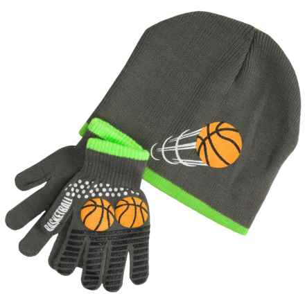 Grand Sierra Sport Beanie and Gloves Set (For Little and Big Boys) in Grey/Lime Basketball - Closeouts