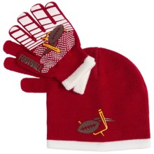 Grand Sierra Sport Beanie and Gloves Set (For Little and Big Boys) in Red/White Football - Closeouts