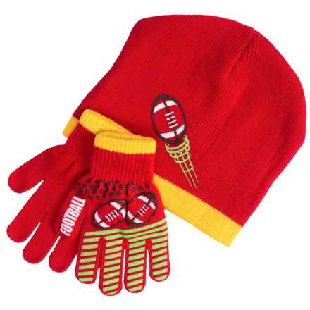 Grand Sierra Sport Beanie and Gloves Set (For Little and Big Boys) in Red/Yellow Football - Closeouts