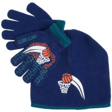 Grand Sierra Sport Beanie Hat and Glove Set (For Boys) in Blue/Teal Slam Dunk - Closeouts