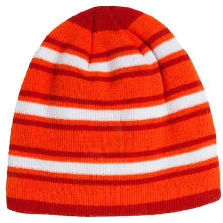 Grand Sierra Stripe Knit Beanie - Fleece Lined (For Big Boys) in Orange Combo - Closeouts