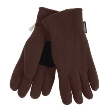 Grand Sierra Super Soft Fleece Gloves - Insulated, Leather Palm Patch (For Women) in Medium Brown - Closeouts