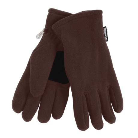 Grand Sierra Super Soft Fleece Gloves - Insulated, Leather Palm Patch (For Women) in Black