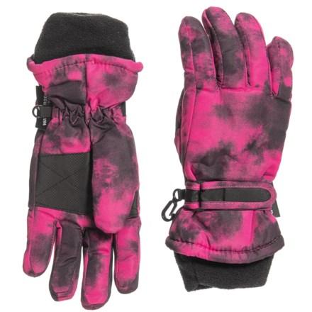 e5bae64bf1367 Grand Sierra Taslon Ski Gloves - Insulated (For Big Girls) in Pink/Black