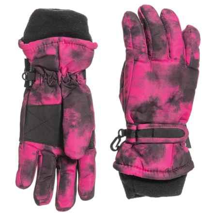 Grand Sierra Taslon Ski Gloves - Insulated (For Big Girls) in Pink/Black - Closeouts