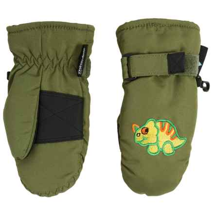 Grand Sierra Taslon Ski Mittens - Waterproof, Insulated (For Toddlers) in Green /Dinosaur - Closeouts