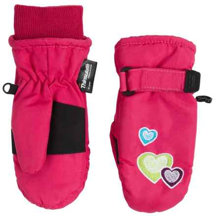 Grand Sierra Taslon Ski Mittens - Waterproof, Insulated (For Toddlers) in Hot Pink /Hearts - Closeouts