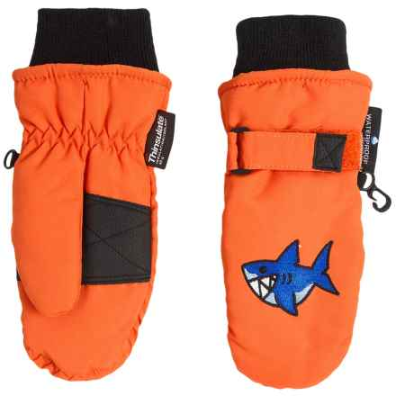 Grand Sierra Taslon Ski Mittens - Waterproof, Insulated (For Toddlers) in Orange/ Shark - Closeouts