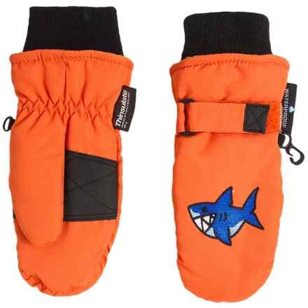 Grand Sierra Taslon Ski Mittens - Waterproof, Insulated (For Toddlers) in Orange/ Shark - Closeouts