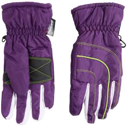 Grand Sierra Thinsulate® Gloves - Waterproof, Insulated (For Big Girls) in Purple/Lime - Closeouts