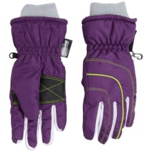Grand Sierra Thinsulate® Ski Gloves - Waterproof, Insulated (For Little Girls) in Purple/Lime - Closeouts