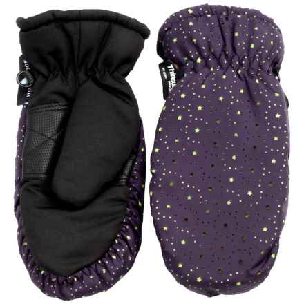 Grand Sierra Thinsulate® Ski Mittens - Insulated (For Little Girls) in Dark Purple W/Lime Stars - Closeouts