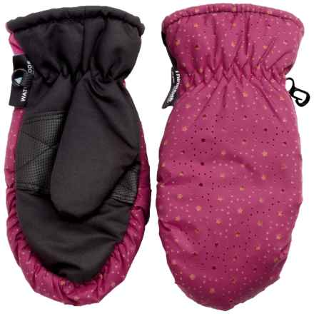 Grand Sierra Thinsulate® Ski Mittens - Insulated (For Little Girls) in Pink W/ Orange Stars - Closeouts