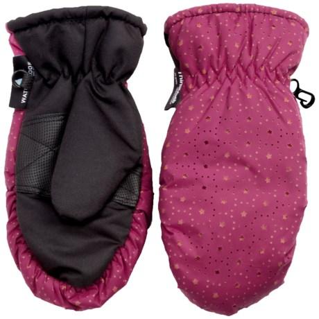 Grand Sierra Thinsulate® Ski Mittens - Insulated (For Little Girls) in Pink W/ Orange Stars