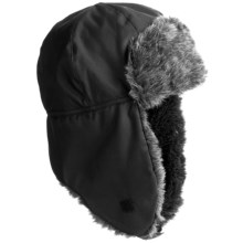 Grand Sierra Tusser Shell Trapper Hat - Faux Fur (For Men) in Black - Closeouts