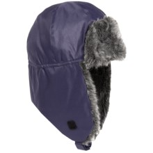 Grand Sierra Tusser Shell Trapper Hat - Faux Fur (For Men) in Navy - Closeouts