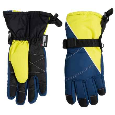Grand Sierra Tusser Thinsulate® Ski Gloves - Insulated (For Big Boys) in Navy/Lime - Closeouts