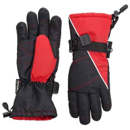 Grand Sierra Tusser Thinsulate® Ski Gloves - Insulated (For Little Boys) in Black/Red - Closeouts