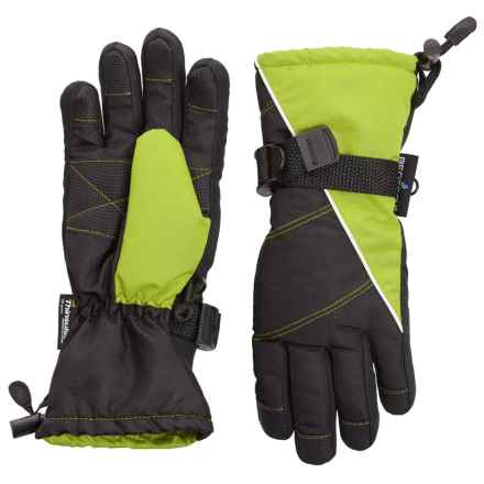 Grand Sierra Tusser Thinsulate® Ski Gloves - Insulated (For Little Boys) in Black W/Green - Closeouts