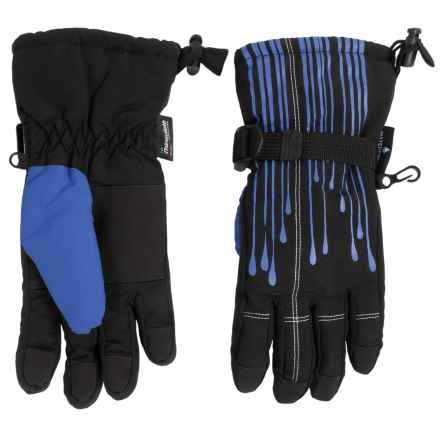 Grand Sierra Tusser Thinsulate® Snowboard Gloves - Waterproof, Insulated (For Little Boys) in Black W/Blue - Closeouts